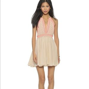 LoveShackFancy Coral Bali halter dress